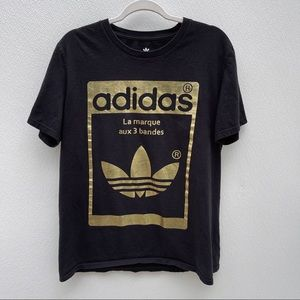 Adidas gold logo black shirt large cotton tshirt